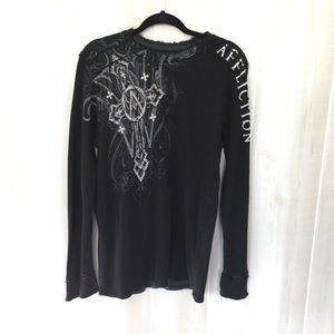 Affliction reversible thermal long sleeve shirt